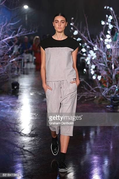 A model walks the runway during the Jennifer Kate show at MercedesBenz Fashion Week Resort 17 Collections at Byron Kennedy Hall Entertainment Quarter...