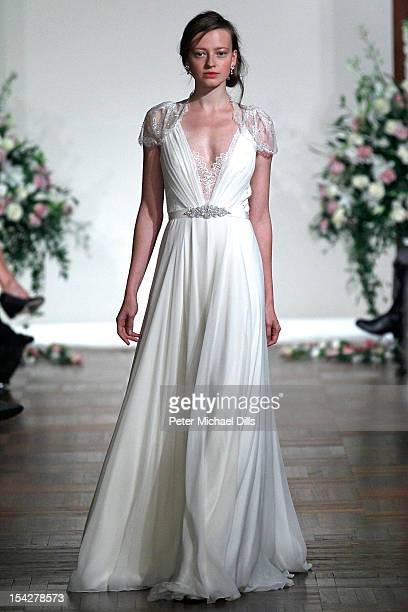 A model walks the runway during the Jenny Packham 2013 Bridal Collection show at the St Regis Hotel on October 14 2012 in New York City