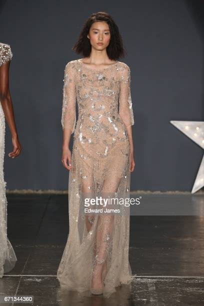 A model walks the runway during the Jenny Packham Spring/Summer 2018 bridal collection fashion show at 775 Washington Street on April 21 2017 in New...