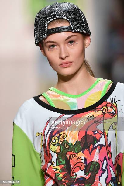 Model walks the runway during the Jeremy Scott Ready to Wear Spring/Summer 2018 fashion show during New York Fashion Week on September 8, 2017 in New...