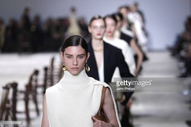 Model walks the runway during the Jil Sander fashion show as part of Milan Fashion Week Fall/Winter 2020-2021 on February 19, 2020 in Milan, Italy.