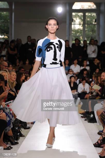 Model walks the runway during the Jil Sander fashion show as part of Milan Fashion Week Womenswear Spring/Summer 2012 on September 24, 2011 in Milan,...