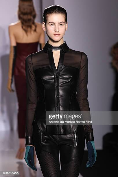 A model walks the runway during the Jitrois Fall/Winter 2013 ReadytoWear show as part of Paris Fashion Week on March 6 2013 in Paris France