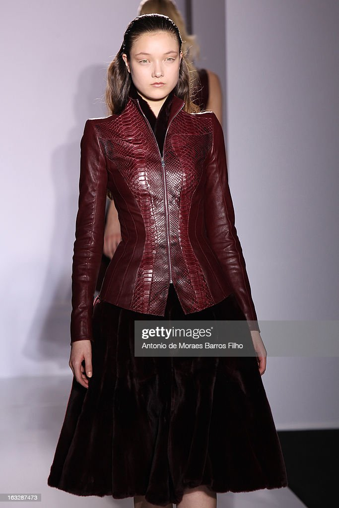 A model walks the runway during the Jitrois Fall/Winter 2013 Ready-to-Wear show as part of Paris Fashion Week on March 6, 2013 in Paris, France.