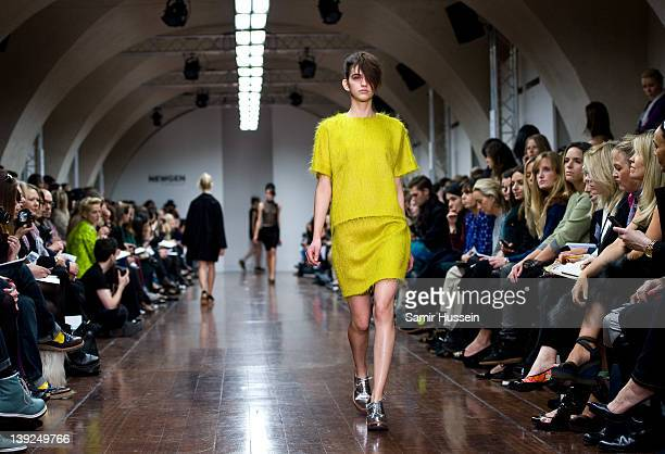 A model walks the runway during the JJS Lee show at the Embankment Show Space at London Fashion Week Autumn/Winter 2012 on February 18 2012 in London...