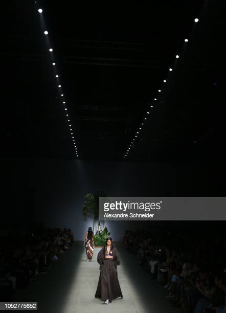 A model walks the runway during the Joao Pimenta fashion show during Sao Paulo Fashion Week N46 Winter 2019 at Arca on October 22 2018 in Sao Paulo...