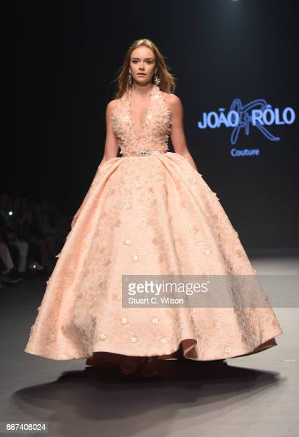 A model walks the runway during the Joao Rolo International show at Fashion Forward October 2017 held at the Dubai Design District on October 28 2017...