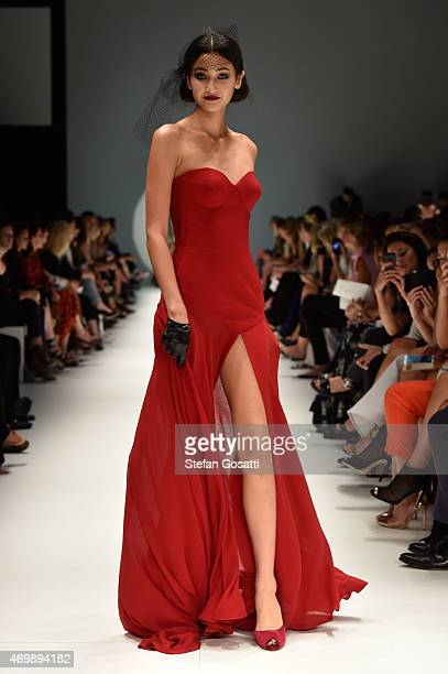Model walks the runway during the Johanna Johnson Presented By Capitol Grand show at Mercedes-Benz Fashion Week Australia 2015 at Carriageworks on...