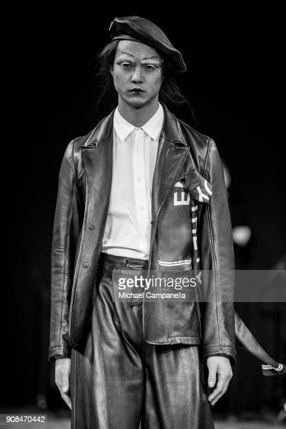 Model walks the runway during the Johannes Adele show on the first day of Stockholm Fashion Week at the Grand Hotel on January 21, 2018 in Stockholm,...