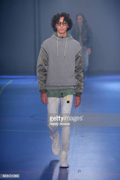 Model walks the runway during the John Elliot NYFW: Mens show at Skylight Clarkson North on February 1, 2017 in New York City.