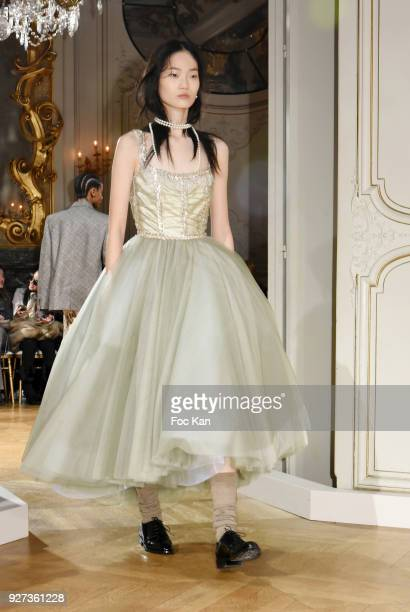 A model walks the runway during the John Galliano show as part of the Paris Fashion Week Womenswear Fall/Winter 2018/2019 on March 42018 in Paris...