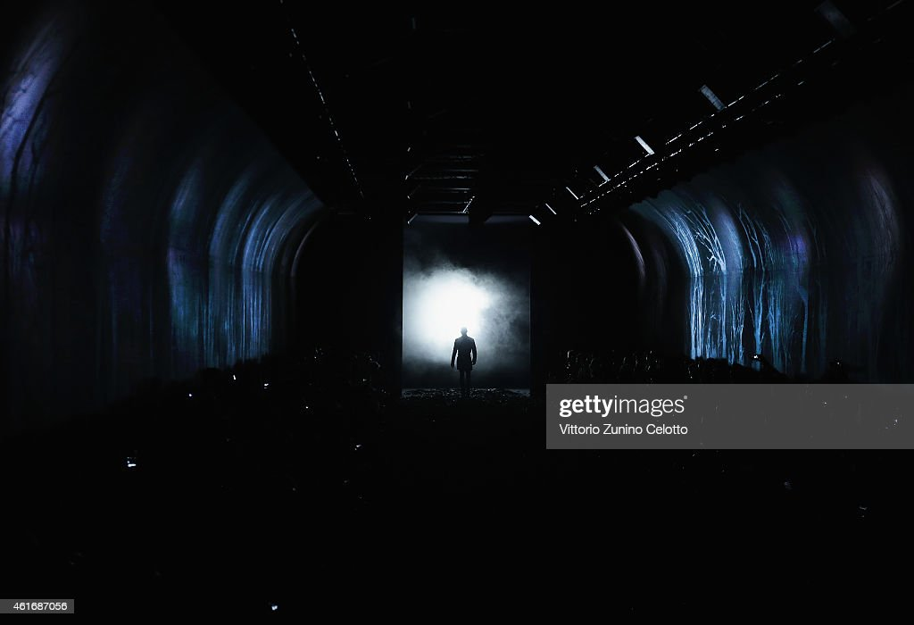 A model walks the runway during the John Varvatos Show as a part of Milan Menswear Fashion Week Fall Winter 2015/2016 on January 17, 2015 in Milan, Italy.