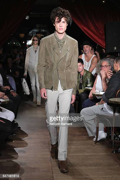 A model walks the runway during the John Varvatos Spring/Summer 2017 Fashion Show at The Django at Roxy Hotel on July 14 2016 in New York City