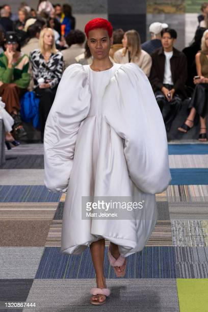 Model walks the runway during the Jordan Dalah show during Afterpay Australian Fashion Week 2021 Resort '22 Collections at Carriageworks on May 31,...