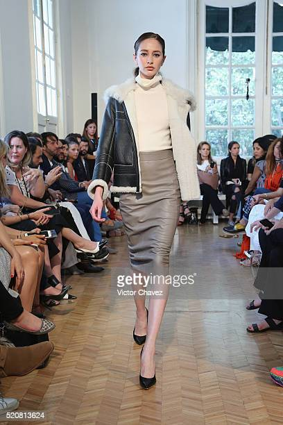 A model walks the runway during the Jose Sanchez show at MercedesBenz Fashion Week Mexico Autumn/Winter 2016 at Casa del Lago on April 12 2016 in...