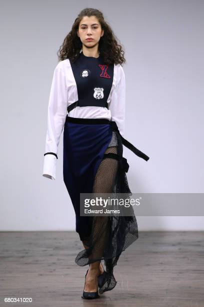 A model walks the runway during the Juan Carlos Pajares Fall/Winter 2017/2018 collection fashion show during MercedesBenz Fashion Week Tbilisi on May...