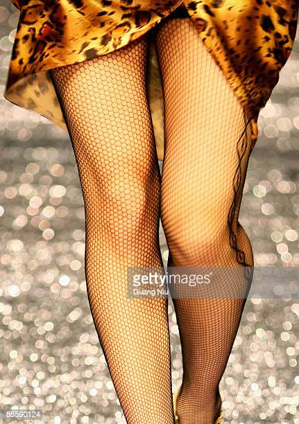 Model walks the runway during the JudyGalaxy Fashion Collection at the China Fashion Week Autumn/Winter Collection 2009 on March 25 2009 in Beijing...