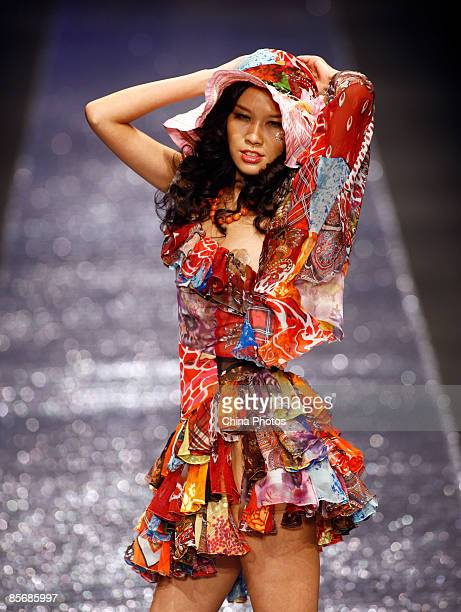 A model walks the runway during the JudyGalaxy Fashion Collection at the China Fashion Week Autumn/Winter Collection 2009 on March 25 2009 in Beijing...