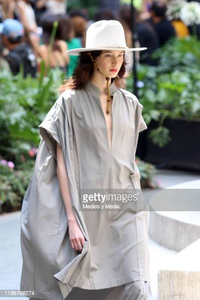 A model walks the runway during the Julia y Renata show as part of MercedesBenz Fashion Week Mexico Fall/Winter 2019 Day 1 at Four Seasons Hotel...