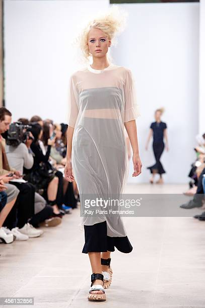A model walks the runway during the Julien David show as part of the Paris Fashion Week Womenswear Spring/Summer 2015 on September 26 2014 in Paris...