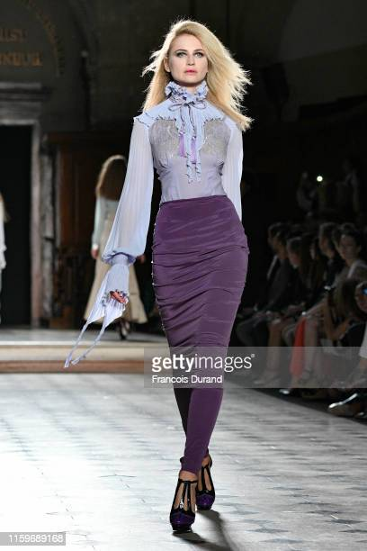 A model walks the runway during the Julien Fournie Haute Couture Fall/Winter 2019 2020 show as part of Paris Fashion Week on July 02 2019 in Paris...