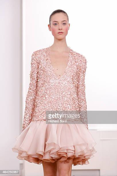 A model walks the runway during the Julien Fournie show as part of Paris Fashion Week Haute Couture Spring/Summer 2014 on January 21 2014 in Paris...