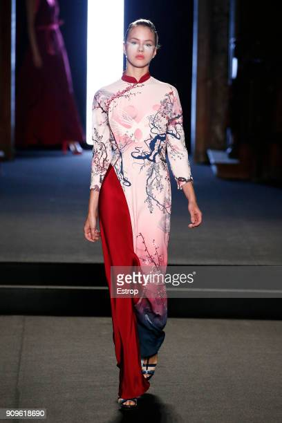 A model walks the runway during the Julien Fournie Spring Summer 2018 show as part of Paris Fashion Week on January 23 2018 in Paris France