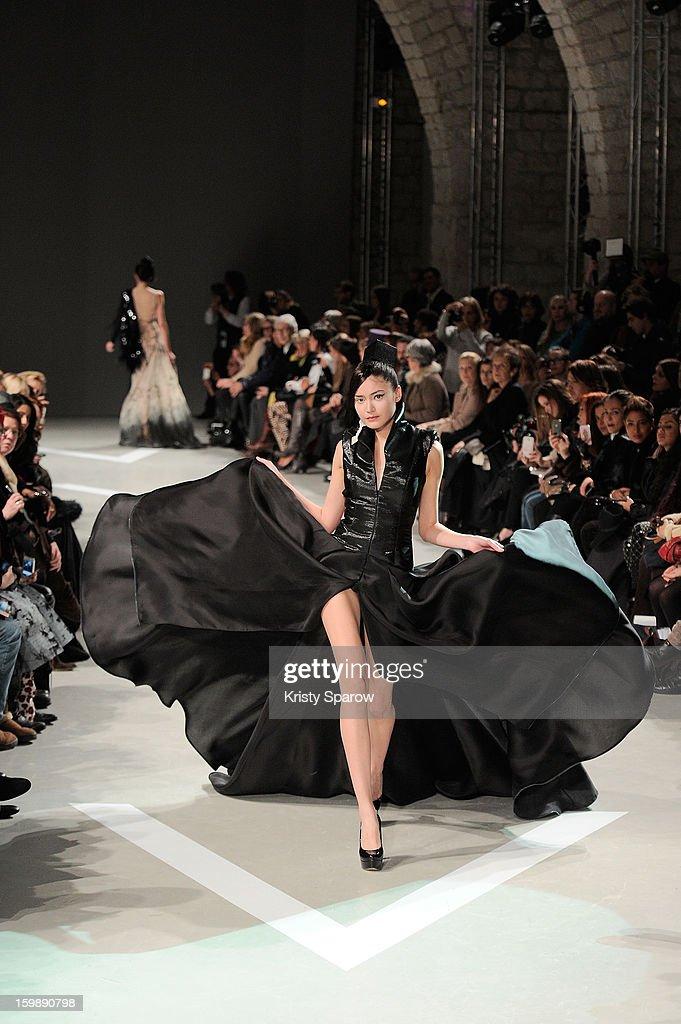 A model walks the runway during the Julien Fournie Spring/Summer 2013 Haute-Couture show as part of Paris Fashion Week at Cite de l'Architecture et du Patrimoine on January 22, 2013 in Paris, France.