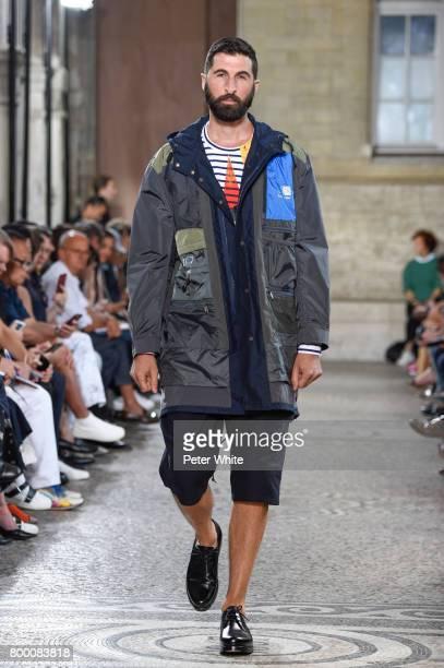 Model walks the runway during the Junya Watanabe Man Menswear Spring/Summer 2018 show as part of Paris Fashion Week on June 23, 2017 in Paris, France.