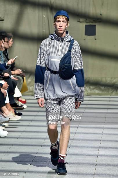 Model walks the runway during the Junya Watanabe Man Menswear Spring/Summer 2019 show as part of Paris Fashion Week on June 22, 2018 in Paris, France.