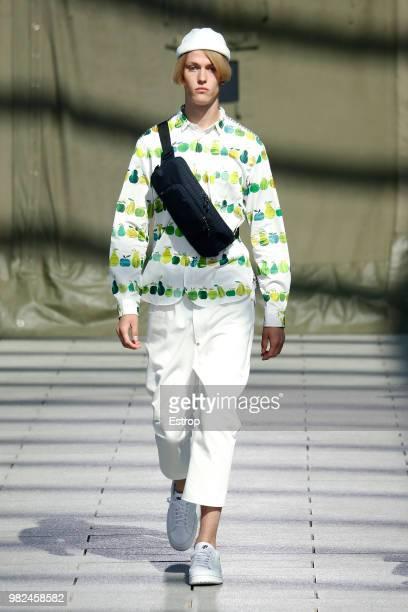 A model walks the runway during the Junya Watanabe Man Menswear Spring/Summer 2019 show as part of Paris Fashion Week on June 22 2018 in Paris France