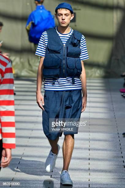 A model walks the runway during the Junya Watanabe Man Menswear Spring/Summer 2019 fashion show as part of Paris Fashion Week on June 22 2018 in...