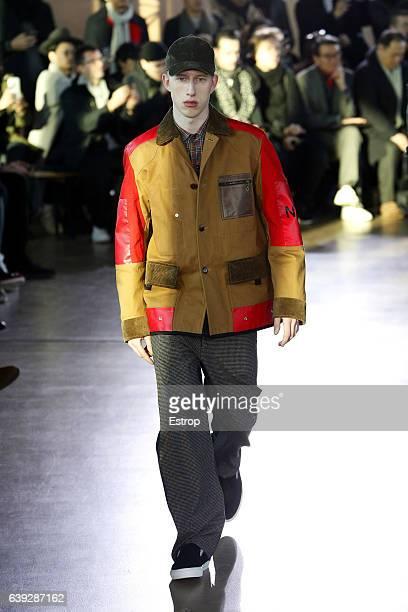 A model walks the runway during the Junya Watanabe Man Menswear Fall/Winter 20172018 show as part of Paris Fashion Week on January 20 2017 in Paris...