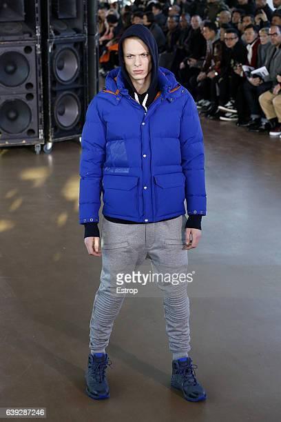 Model walks the runway during the Junya Watanabe Man Menswear Fall/Winter 2017-2018 show as part of Paris Fashion Week on January 20, 2017 in Paris,...