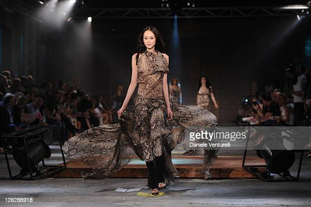 Model walks the runway during the Just Cavalli show as part of Milan Fashion Week Womenswear Spring/Summer 2012 on September 24, 2011 in Milan, Italy.