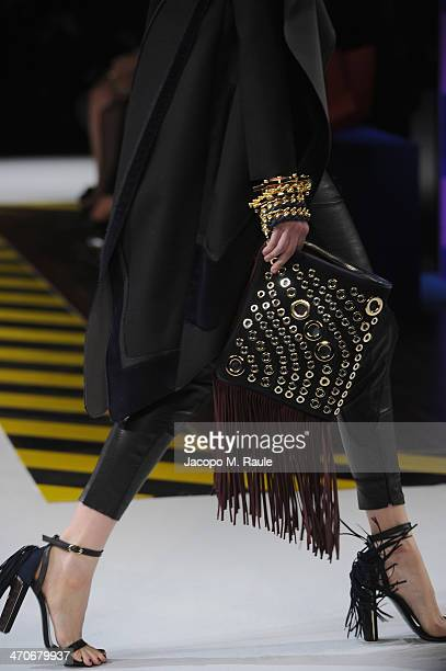 A model walks the runway during the Just Cavalli show as part of Milan Fashion Week Womenswear Autumn/Winter 2014 on February 20 2014 in Milan Italy