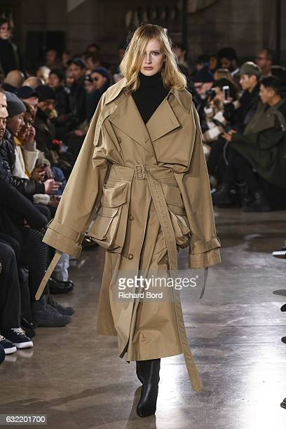 A model walks the runway during the JuunJ Menswear Fall/Winter 20172018 show at Universite Rene Descartes as part of Paris Fashion Week on January 20...