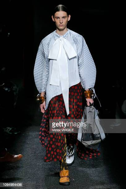 A model walks the runway during the JW Anderson Menswear Fall/Winter 20192020 fashion show as part of Paris Fashion Week on January 16 2019 in Paris...