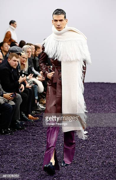 A model walks the runway during the JWAnderson show at the London Collections Men AW15 at on January 11 2015 in London England