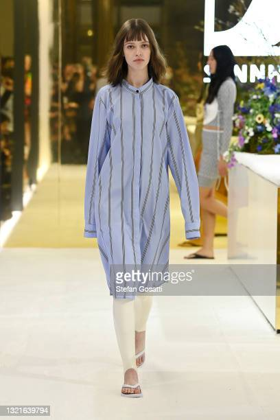 Model walks the runway during the Karla Spetic show during Afterpay Australian Fashion Week 2021 Resort '22 Collections at Sennheiser Sydney Store on...