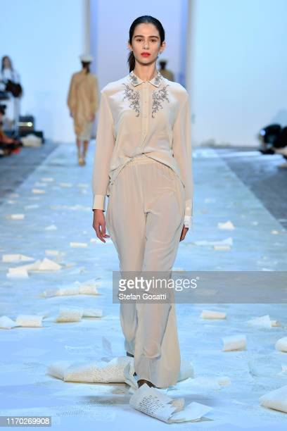 A model walks the runway during the Kate Sylvester show during New Zealand Fashion Week 2019 at Auckland Town Hall on August 26 2019 in Auckland New...