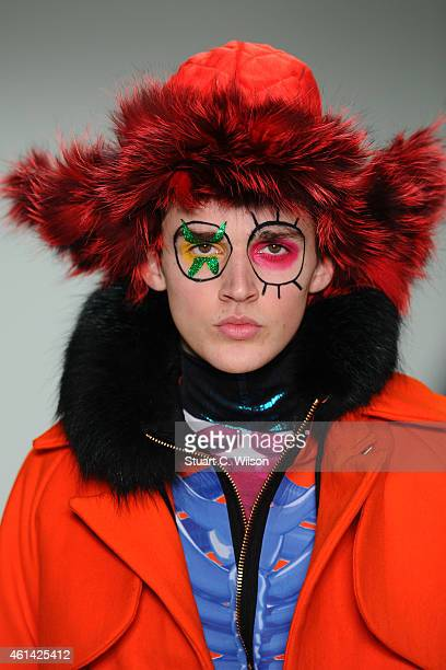 A model walks the runway during the Katie Eary show at the London Collections Men AW15 at Victoria House on January 12 2015 in London England