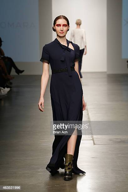 A model walks the runway during the Katty Xiomara show at the Nolcha Fashion Week New York Fall Winter Collections 2015/2016 during NY Fashion Week...