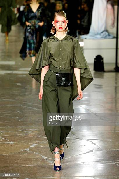A model walks the runway during the Kenzo designed by Carol Lim Humberto Leon show as part of the Paris Fashion Week Womenswear Spring/Summer 2017 on...