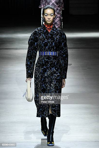 Model walks the runway during the Kenzo Menswear Fall/Winter 2017-2018 show as part of Paris Fashion Week on January 22, 2017 in Paris, France.