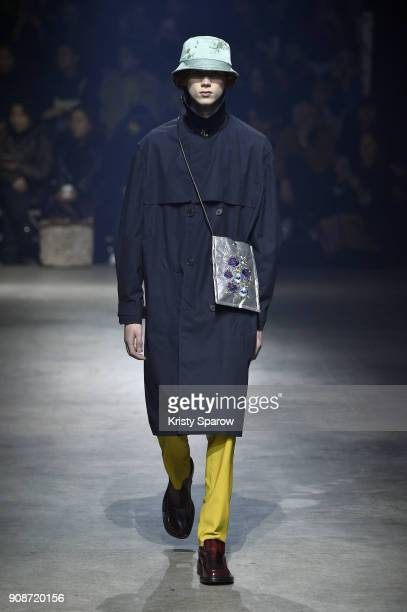 A model walks the runway during the Kenzo Menswear Fall/Winter 20182019 show as part of Paris Fashion Week on January 21 2018 in Paris France