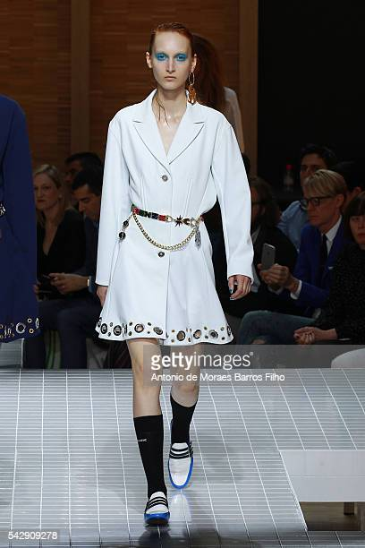 Model walks the runway during the Kenzo Menswear Spring/Summer 2017 show as part of Paris Fashion Week on June 25, 2016 in Paris, France.