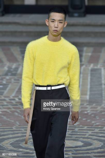 Model walks the runway during the Kenzo Menswear Spring/Summer 2018 show as part of Paris Fashion Week on June 25, 2017 in Paris, France.