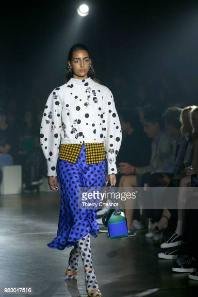 Model walks the runway during the Kenzo Menswear Spring/Summer 2019 show as part of Paris Fashion Week on June 24, 2018 in Paris, France.