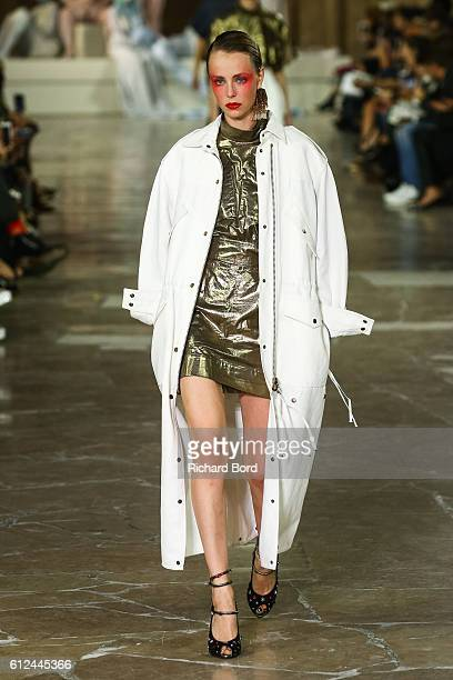 A model walks the runway during the Kenzo show as part of the Paris Fashion Week Womenswear Spring/Summer 2017 at 'Cite de l'Architecture et du...